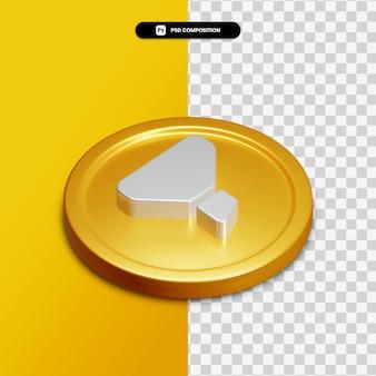 Icône de filtre de rendu 3d sur cercle doré isolé