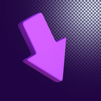 L'icône de la flèche vers le bas de haute qualité rendu 3d isolé