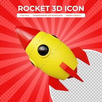 Icône de fusée de rendu 3d