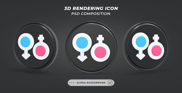 Icône de genre noir et blanc en rendu 3d