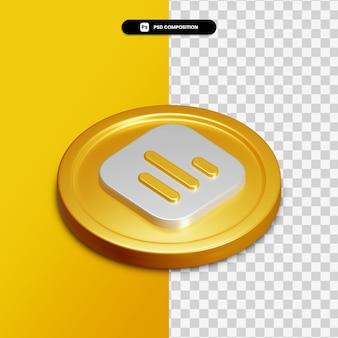 Icône de graphique de rendu 3d sur cercle doré isolé