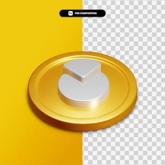 Icône graphique de rendu 3d sur cercle doré isolé