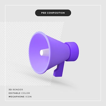 Icône de haut-parleur mégaphone rendu 3d