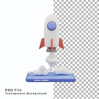 Icône d'illustration de téléphone portable de fusée 3d de haute qualité