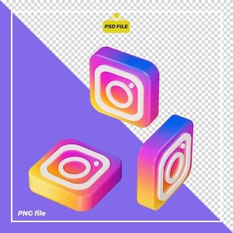 Icône instagram 3d tout le côté