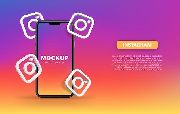 Icône instagram autour de la maquette de l'appareil smartphone 3d