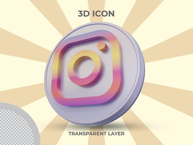 Icône instagram isolée en rendu 3d de haute qualité
