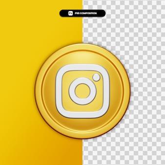 Icône instagram de rendu 3d sur cercle doré isolé