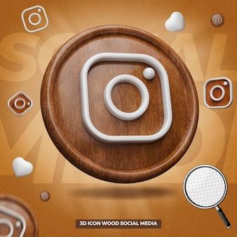 Icône instagram de rendu 3d dans un cercle en bois à gauche