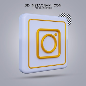 Icône instagram de rendu 3d isolé