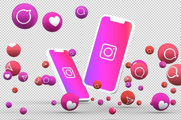 Icône instagram sur les smartphones à l'écran et réactions instagram