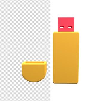 Icône de lecteur flash 3d. illustration du lecteur flash 3d. icône de clé usb 3d