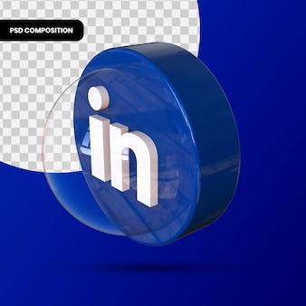 Icône linkedin, application de médias sociaux. rendu 3d