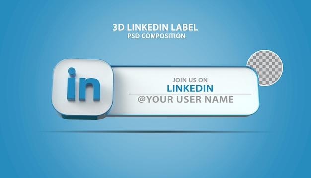 Icône linkedin de bannière 3d avec zone de texte d'étiquette