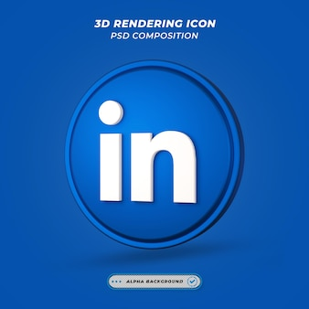 Icône de linkedin de médias sociaux dans le rendu 3d