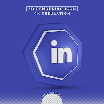 Icône linkedin médias sociaux dans le rendu 3d
