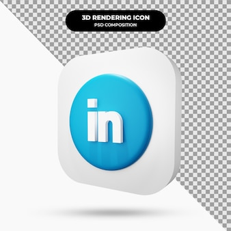 Icône linkedin object 3d