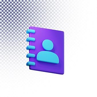 L'icône de la liste de contacts de haute qualité rendu 3d concept isolé