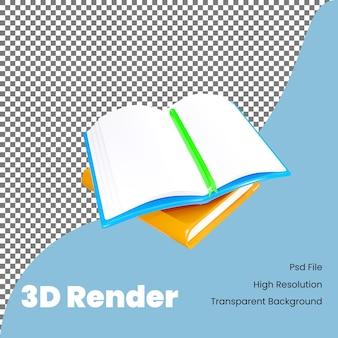 Icône de livre de rendu 3d pour la rentrée