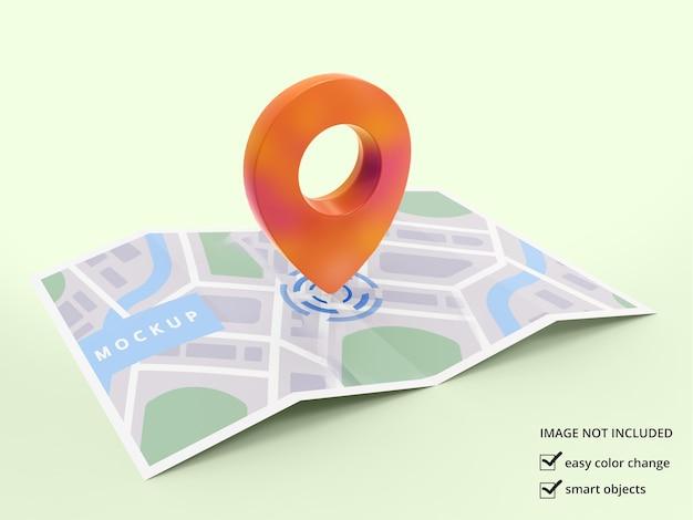 Icône de localisation 3d avec conception de maquette de carte