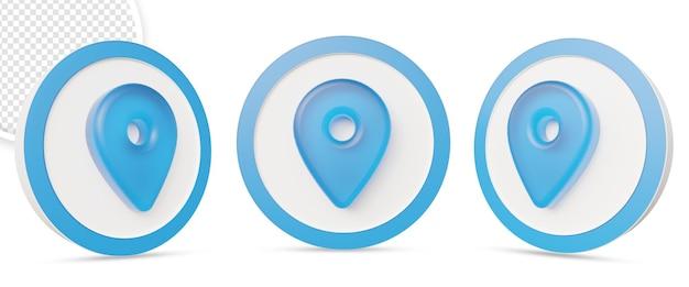 Icône de localisation 3d dans la conception de rendu 3d