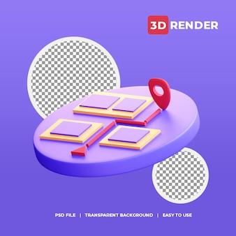 Icône de localisation de carte 3d avec fond transparent