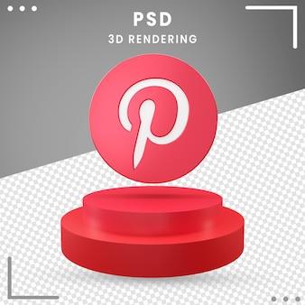 Icône de logo de rotation 3d rouge pinterest isolé