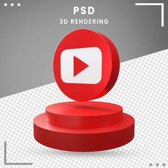 Icône logo rotation bleu 3d youtube isolé