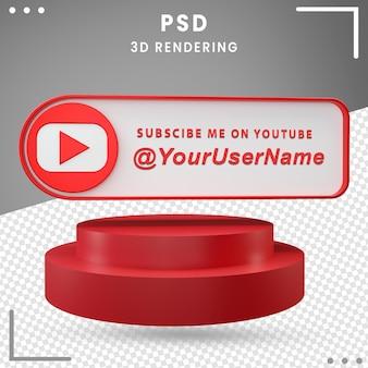 Icône de maquette de médias sociaux 3d conception de youtube
