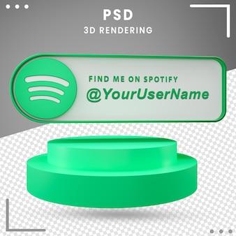 Icône de maquette de médias sociaux 3d spotify premium psd