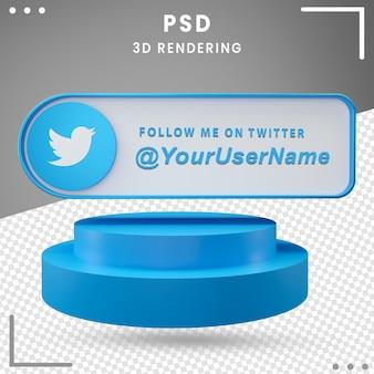 Icône de maquette de médias sociaux 3d twitter premium psd
