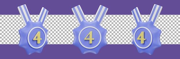 Icône de médaille numéro 4 dans différentes vues. rendu 3d