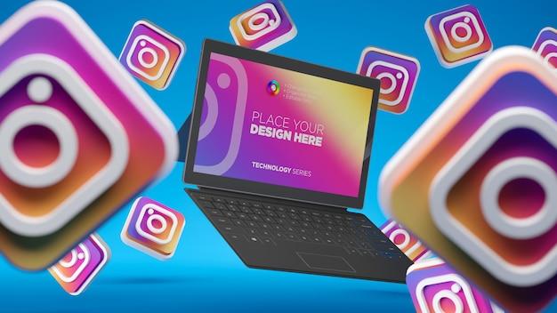 Icône de médias sociaux instagram 3d avec maquette d'écran de bureau pour ordinateur portable