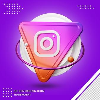 Icône de médias sociaux instagram rendu 3d transparent