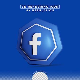 Icône de médias sociaux de rendu 3d moderne facebook