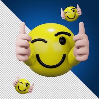Icône de médias sociaux thumb up dans le rendu 3d