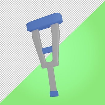 Icône médicale de bâton de marche bleu rendu 3d
