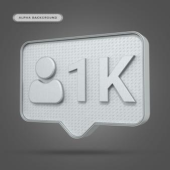 Icône métallique instagram 1k followers en rendu 3d