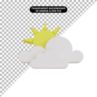 Icône météo rendu 3d nuageux