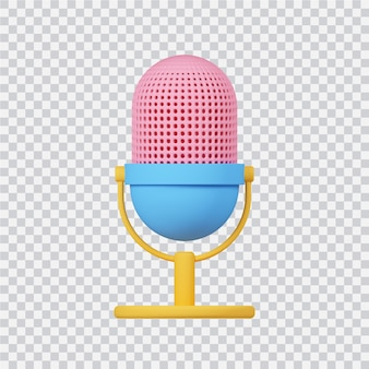 Icône de microphone isolé sur blanc image de rendu 3d