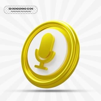 Icône de microphone or dans le rendu 3d