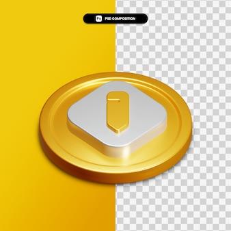 Icône de modification de rendu 3d sur cercle doré isolé