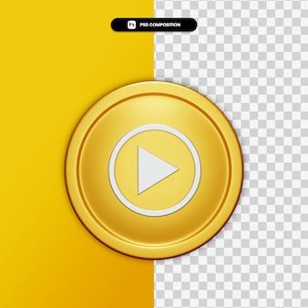 Icône de musique youtube rendu 3d sur cercle doré isolé