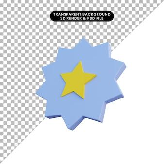 Icône de notation d'étoile d'illustration 3d avec badge