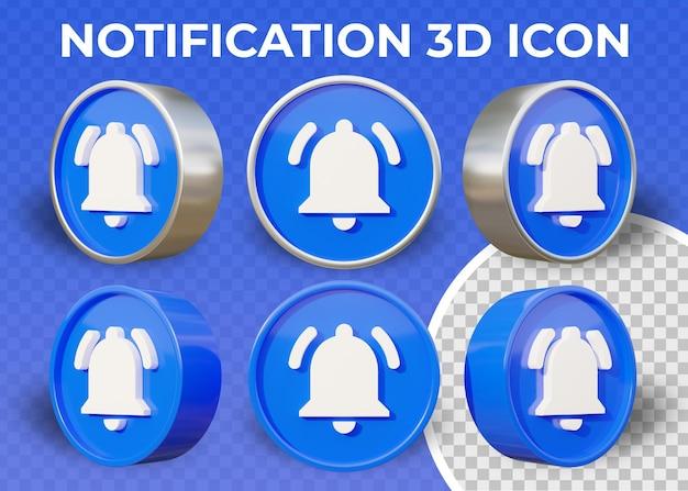 Icône de notification 3d plat réaliste