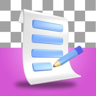 L'icône de l'objet de rendu 3d feuille de papier de facture avec un crayon stylo bleu et blanc