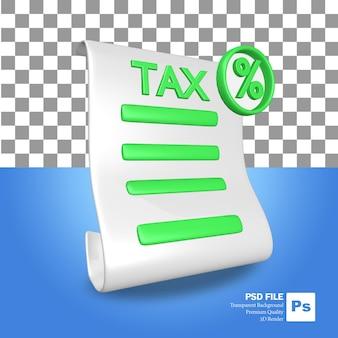 L'icône de l'objet de rendu 3d une feuille de papier à lettres d'impôt rouge et vert avec une icône de pourcentage