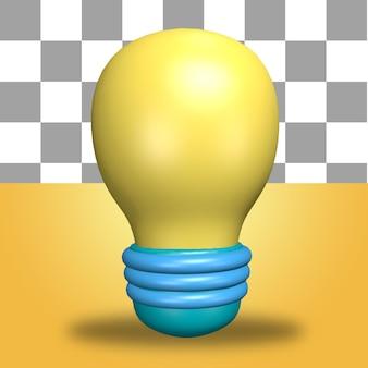 L'icône de l'objet de rendu 3d de l'icône d'idée d'ampoule d'énergie jaune