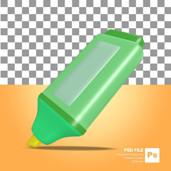 L'icône de l'objet de rendu 3d un surligneur vert