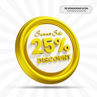 Icône d'offre de remise de vente d'été dans le rendu 3d